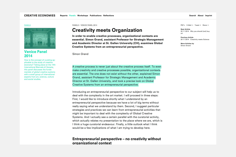 Creative Economies / Research Venue 3