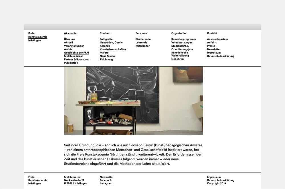 Freie Kunstakademie Nürtingen Website