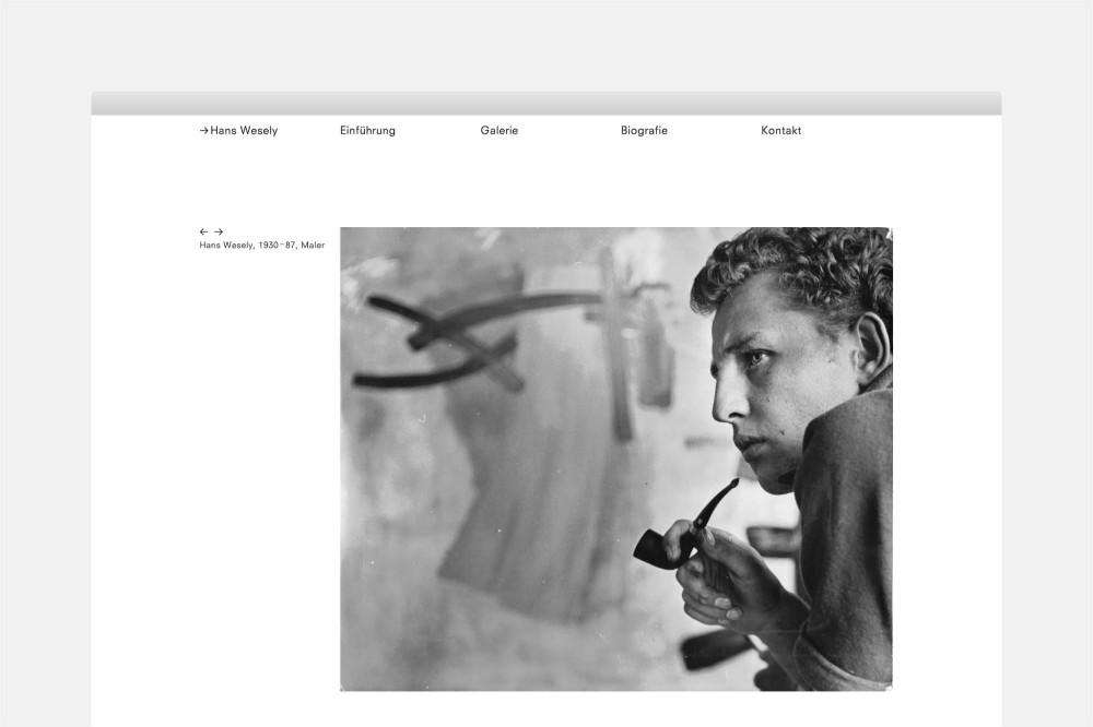 Hans Wesely, Künstlernachlass Website und Postkarte