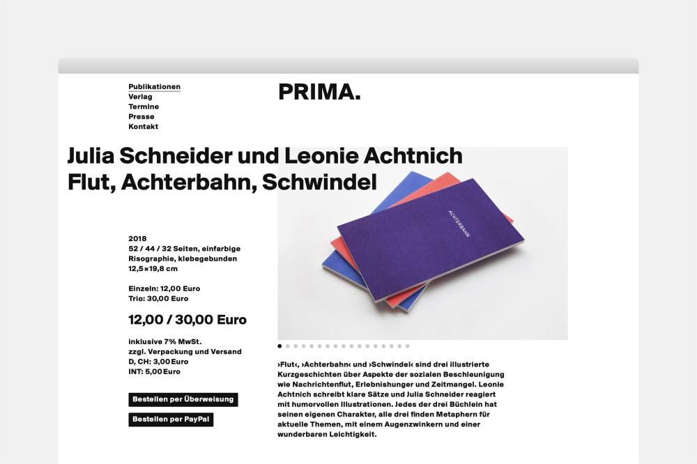 Prima.Publikationen Website mit Bestellmöglichkeit